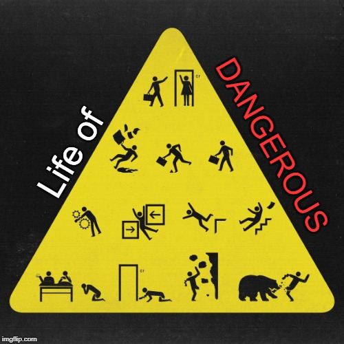 Life of DANGEROUS |  DANGEROUS; Life of | image tagged in funny,life,dangerous,life of brian,danger,warning sign | made w/ Imgflip meme maker