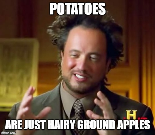 Ancient Aliens |  POTATOES; ARE JUST HAIRY GROUND APPLES | image tagged in memes,ancient aliens | made w/ Imgflip meme maker