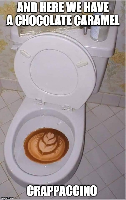 I'll pass. | AND HERE WE HAVE A CHOCOLATE CARAMEL CRAPPACCINO | image tagged in funny,funny memes,funny meme | made w/ Imgflip meme maker