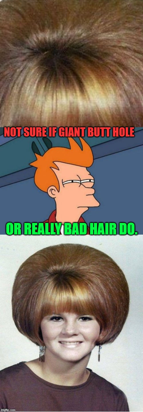 It's hard to tell! | NOT SURE IF GIANT BUTT HOLE OR REALLY BAD HAIR DO. | image tagged in memes,futurama fry,nixieknox,bad hair | made w/ Imgflip meme maker