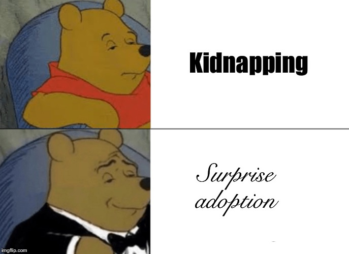 Tuxedo Winnie The Pooh Meme | Kidnapping Surprise adoption | image tagged in memes,tuxedo winnie the pooh | made w/ Imgflip meme maker