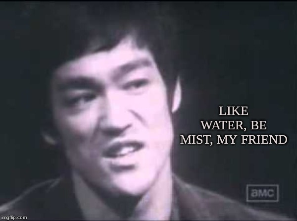 Mist | LIKE WATER, BE MIST, MY FRIEND | image tagged in bruce lee,water,mist,individual,self,mind | made w/ Imgflip meme maker