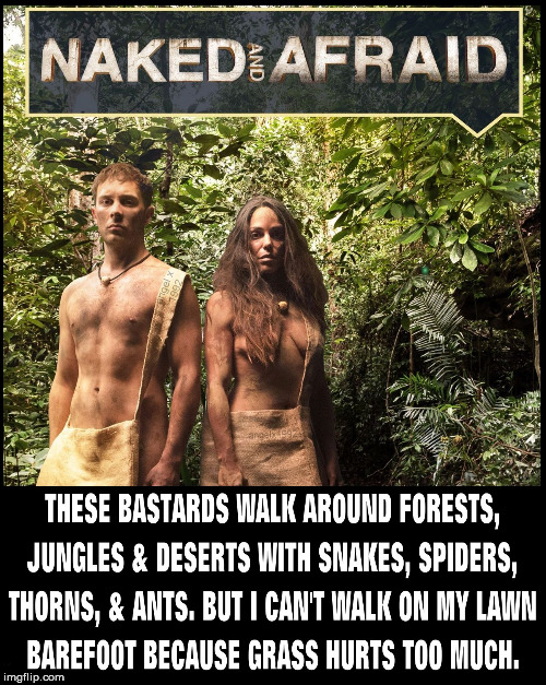 Naked And Afraid | image tagged in tv shows,barefoot,lawns,jungle,nudity,challenge | made w/ Imgflip meme maker