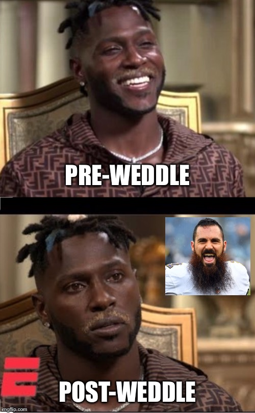 Antonio Brown |  PRE-WEDDLE; POST-WEDDLE | image tagged in funny memes,memes,antonio brown,nfl memes,nfl football,nfl | made w/ Imgflip meme maker