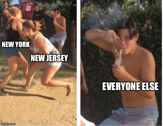 Dabbing Dude |  NEW YORK; NEW JERSEY; EVERYONE ELSE | image tagged in dabbing dude | made w/ Imgflip meme maker