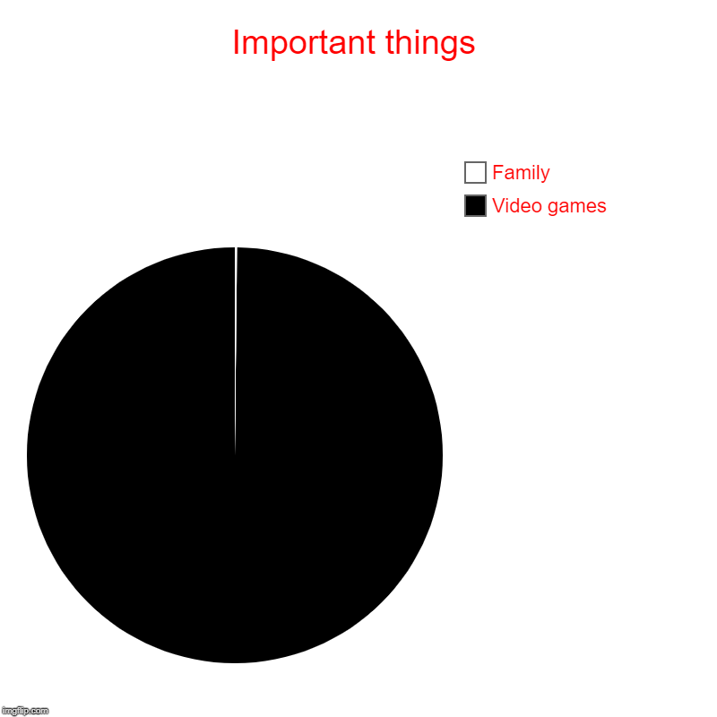 Important things | Video games, Family | image tagged in charts,pie charts | made w/ Imgflip chart maker