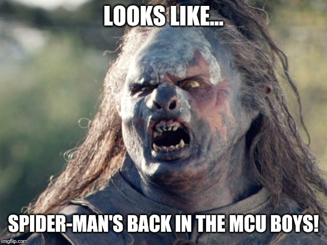 Meat's Back on The Menu Orc | LOOKS LIKE... SPIDER-MAN'S BACK IN THE MCU BOYS! | image tagged in meat's back on the menu orc | made w/ Imgflip meme maker