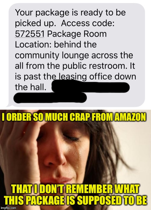Why can't I remember? | I ORDER SO MUCH CRAP FROM AMAZON THAT I DON'T REMEMBER WHAT THIS PACKAGE IS SUPPOSED TO BE | image tagged in memes,first world problems,funny,amazon,package,delivery | made w/ Imgflip meme maker