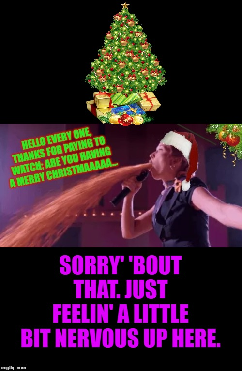 Happy Holidays | SORRY' 'BOUT THAT. JUST FEELIN' A LITTLE BIT NERVOUS UP HERE. | image tagged in happy holidays | made w/ Imgflip meme maker