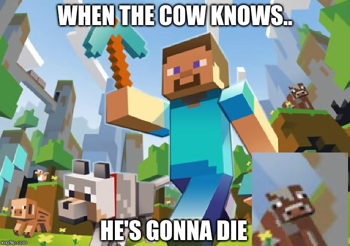 just look at him qwq |  WHEN THE COW KNOWS.. HE'S GONNA DIE | image tagged in minecraft | made w/ Imgflip meme maker