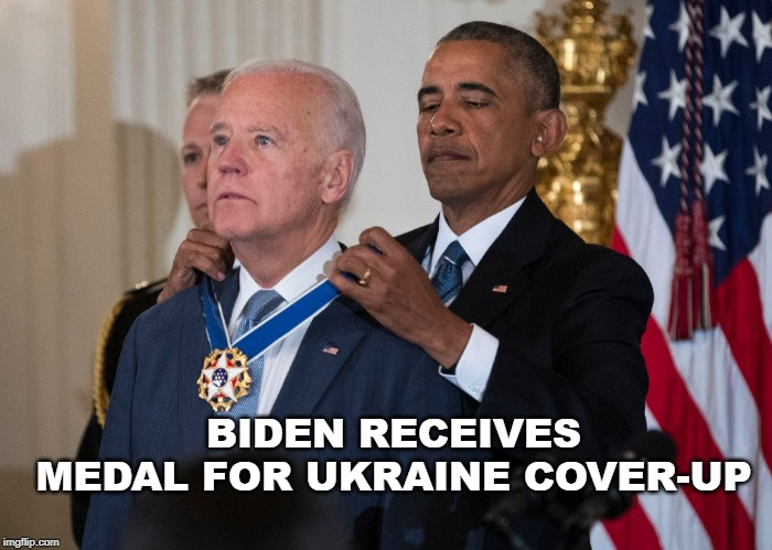 Biden receives Medal for Ukraine Cover-Up |  BIDEN RECEIVES MEDAL FOR UKRAINE COVER-UP | image tagged in biden,obama,medal | made w/ Imgflip meme maker