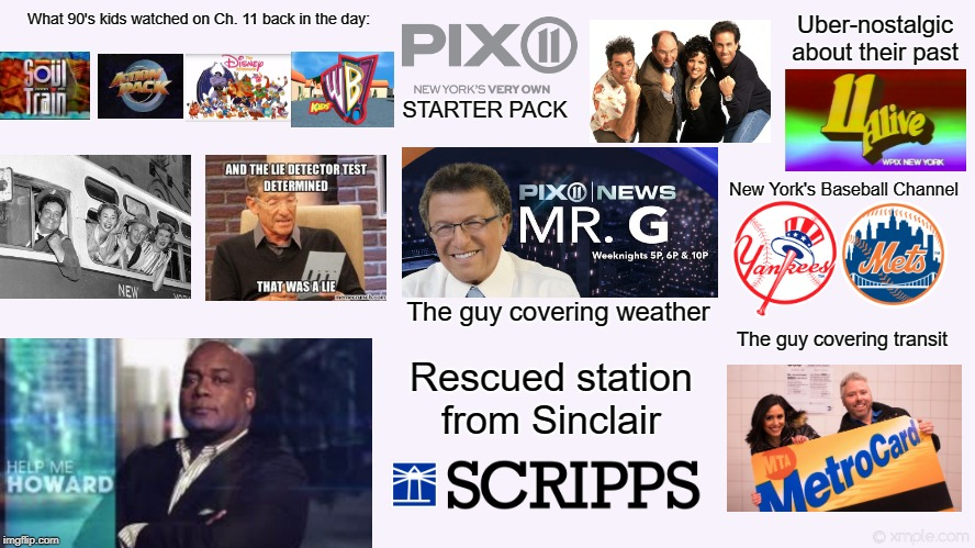 PIX11 (New York) Starter Pack | The guy covering weather Uber-nostalgic about their past STARTER PACK The guy covering transit New York's Baseball Channel Rescued station f | image tagged in pix11,wpix,new york,nyc,starter pack | made w/ Imgflip meme maker