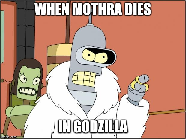 Bender |  WHEN MOTHRA DIES; IN GODZILLA | image tagged in memes,bender | made w/ Imgflip meme maker