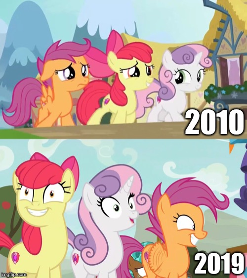MLP:FIM CMC growing up older | 2010 2019 | image tagged in scootaloo,mlp fim,growing up,growing older,past,today | made w/ Imgflip meme maker