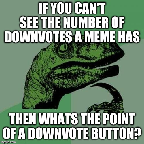 Philosoraptor Meme |  IF YOU CAN'T SEE THE NUMBER OF DOWNVOTES A MEME HAS; THEN WHATS THE POINT OF A DOWNVOTE BUTTON? | image tagged in memes,philosoraptor | made w/ Imgflip meme maker