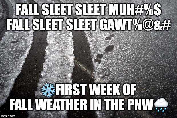 FALL SLEET SLEET MUH#%$FALL SLEET SLEET GAWT%@&# ❄️FIRST WEEK OF FALL WEATHER IN THE PNW? | image tagged in pnw,weather,snow | made w/ Imgflip meme maker