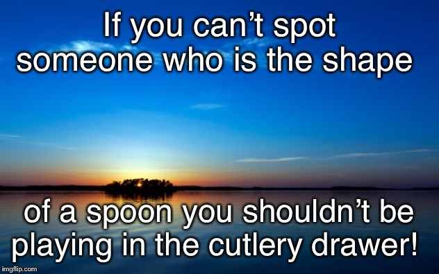 Inspirational Quote | If you can't spot someone who is the shape of a spoon you shouldn't be playing in the cutlery drawer! | image tagged in inspirational quote | made w/ Imgflip meme maker