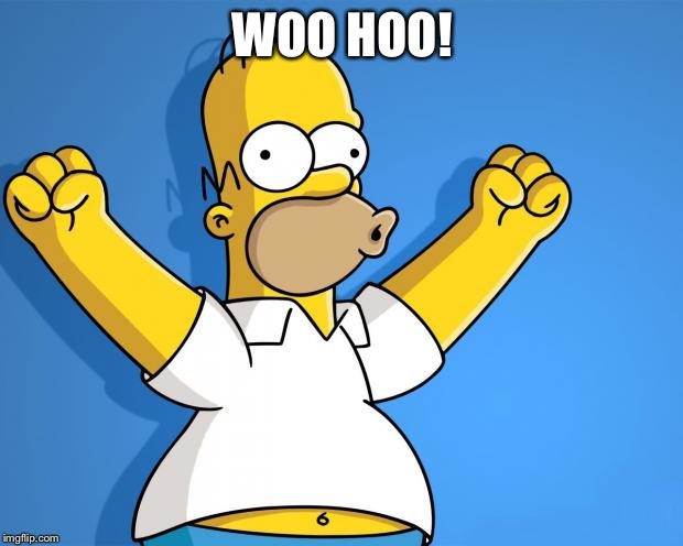 Woohoo Homer Simpson | WOO HOO! | image tagged in woohoo homer simpson | made w/ Imgflip meme maker