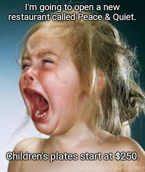 Crying Baby |  I'm going to open a new restaurant called Peace & Quiet. Children's plates start at $250. | image tagged in crying baby | made w/ Imgflip meme maker