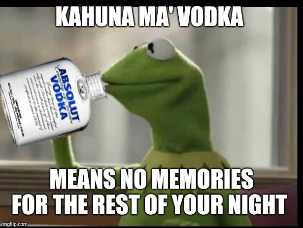 Kermit Vodka | KAHUNA MA' VODKA MEANS NO MEMORIES FOR THE REST OF YOUR NIGHT | image tagged in kermit vodka | made w/ Imgflip meme maker