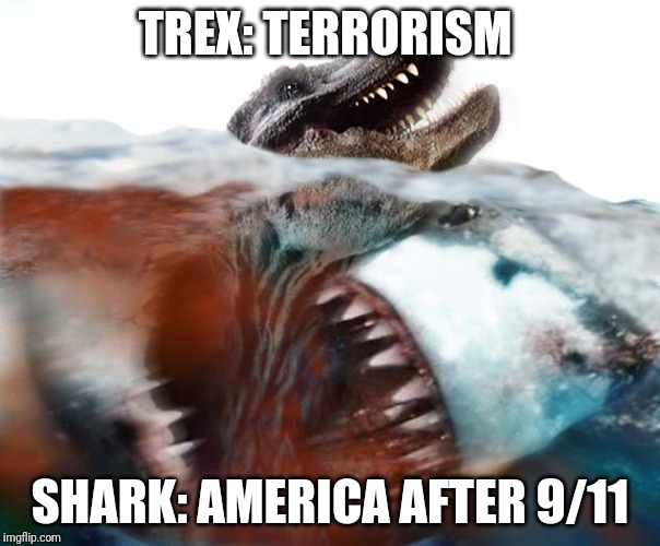 Courtesy of the Red White and Blue | TREX: TERRORISM SHARK: AMERICA AFTER 9/11 | image tagged in megalodon,shark,9/11,america,terrorism,memes | made w/ Imgflip meme maker
