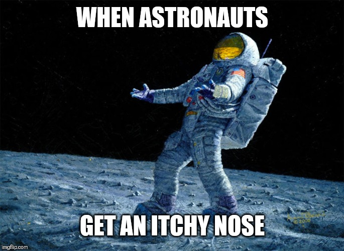 astronaut | WHEN ASTRONAUTS GET AN ITCHY NOSE | image tagged in astronaut | made w/ Imgflip meme maker