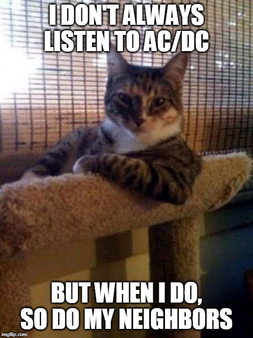 The Most Interesting Cat In The World |  I DON'T ALWAYS LISTEN TO AC/DC; BUT WHEN I DO, SO DO MY NEIGHBORS | image tagged in memes,the most interesting cat in the world | made w/ Imgflip meme maker