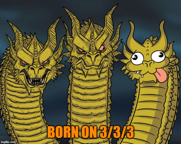 Three-headed Dragon | BORN ON 3/3/3 | image tagged in three-headed dragon | made w/ Imgflip meme maker