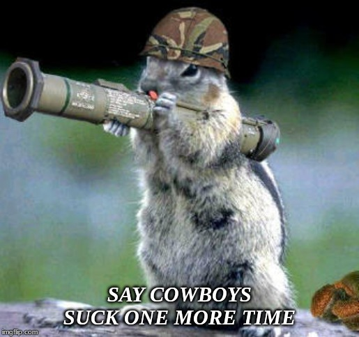 Bazooka Squirrel |  SAY COWBOYS SUCK ONE MORE TIME | image tagged in memes,bazooka squirrel | made w/ Imgflip meme maker