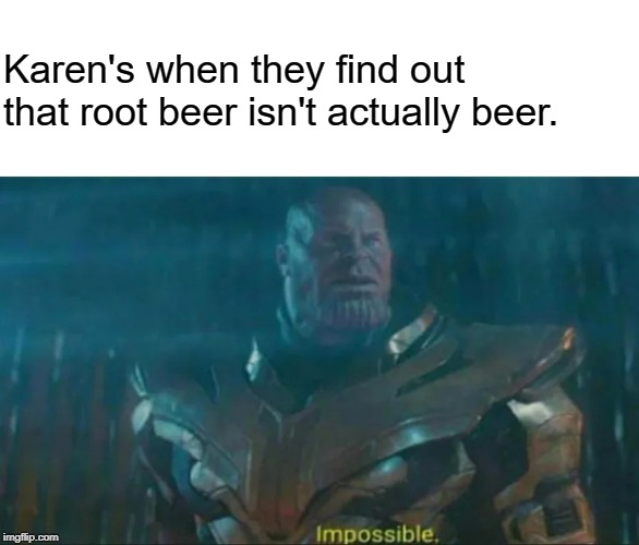 at least they forgot about Video Games! | Karen's when they find out that root beer isn't actually beer. | image tagged in thanos impossible,omg karen | made w/ Imgflip meme maker