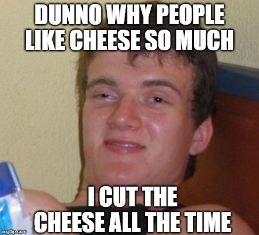 Sounds Smelly to Me | DUNNO WHY PEOPLE LIKE CHEESE SO MUCH I CUT THE CHEESE ALL THE TIME | image tagged in memes,10 guy | made w/ Imgflip meme maker
