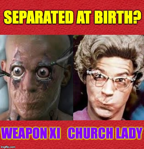 My guess is... no. | SEPARATED AT BIRTH? WEAPON XI   CHURCH LADY | image tagged in memes,church lady,weapon xi,separated at birth | made w/ Imgflip meme maker