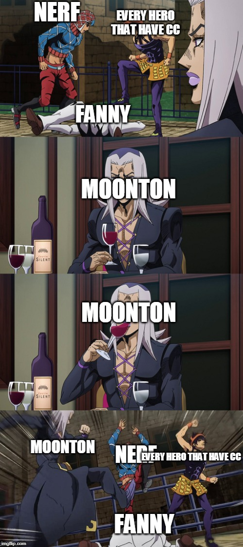 Abbacchio joins in the fun |  NERF; EVERY HERO THAT HAVE CC; FANNY; MOONTON; MOONTON; MOONTON; NERF; EVERY HERO THAT HAVE CC; FANNY | image tagged in abbacchio joins in the fun | made w/ Imgflip meme maker