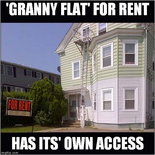 Ideal for 'Agile' Granny | 'GRANNY FLAT' FOR RENT HAS ITS' OWN ACCESS | image tagged in fun,flat rental,granny | made w/ Imgflip meme maker