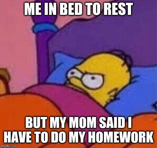 angry homer simpson in bed | ME IN BED TO REST BUT MY MOM SAID I HAVE TO DO MY HOMEWORK | image tagged in angry homer simpson in bed | made w/ Imgflip meme maker