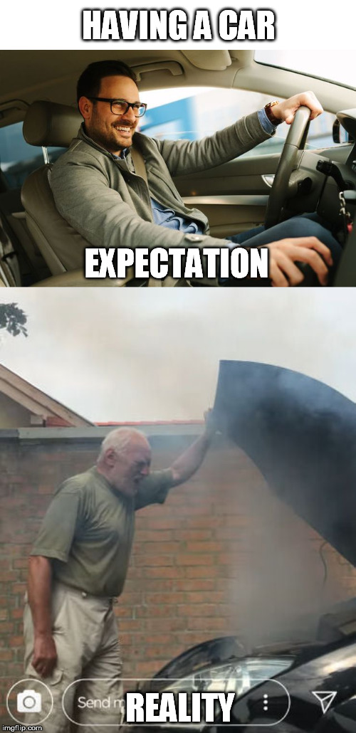 HAVING A CAR REALITY EXPECTATION | image tagged in expectations vs reality,car,problems | made w/ Imgflip meme maker