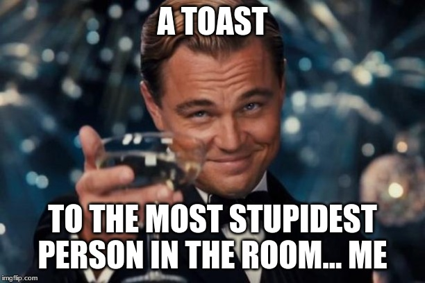 Leonardo Dicaprio Cheers Meme | A TOAST TO THE MOST STUPIDEST PERSON IN THE ROOM... ME | image tagged in memes,leonardo dicaprio cheers | made w/ Imgflip meme maker