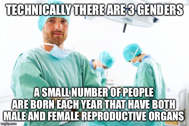 surgeon | TECHNICALLY THERE ARE 3 GENDERS A SMALL NUMBER OF PEOPLE ARE BORN EACH YEAR THAT HAVE BOTH MALE AND FEMALE REPRODUCTIVE ORGANS | image tagged in surgeon,memes,genders,transgender,not funny,true story | made w/ Imgflip meme maker