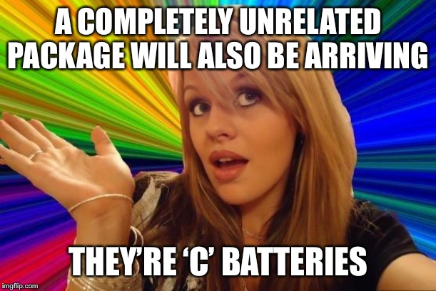 Dumb Blonde Meme | A COMPLETELY UNRELATED PACKAGE WILL ALSO BE ARRIVING THEY'RE 'C' BATTERIES | image tagged in memes,dumb blonde | made w/ Imgflip meme maker