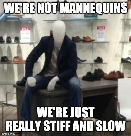 Cool mannequin  | WE'RE NOT MANNEQUINS WE'RE JUST REALLY STIFF AND SLOW | image tagged in cool mannequin | made w/ Imgflip meme maker
