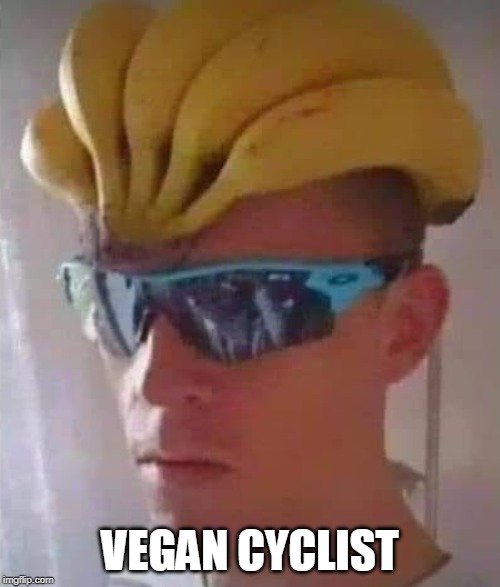 vegan cyclist |  VEGAN CYCLIST | image tagged in banana hat,cyclist,headgear,banana | made w/ Imgflip meme maker