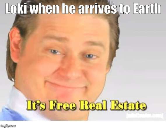 It's Free Real Estate |  Loki when he arrives to Earth | image tagged in it's free real estate | made w/ Imgflip meme maker