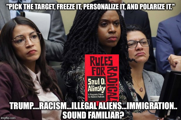 "Rules for RadicalsSocialist Playbook by the numbers | ""PICK THE TARGET, FREEZE IT, PERSONALIZE IT, AND POLARIZE IT."" TRUMP....RACISM...ILLEGAL ALIENS...IMMIGRATION..SOUND FAMILIAR? 