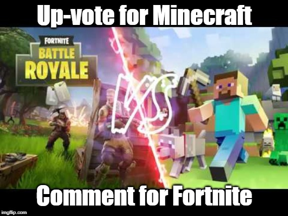 Witch will win? | Up-vote for Minecraft Comment for Fortnite | image tagged in minecraft,fortnite | made w/ Imgflip meme maker