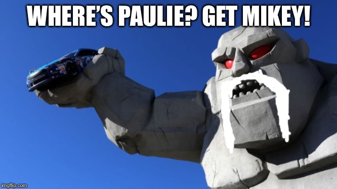 American Chopper Miles The Monster | WHERE'S PAULIE? GET MIKEY! | image tagged in miles the monster,memes,american chopper,mike,nascar,paul | made w/ Imgflip meme maker