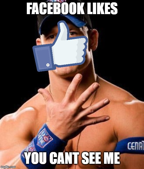 Facebook likes: You Can't See ME |  FACEBOOK LIKES; YOU CANT SEE ME | image tagged in john cena,facebook,facebook likes,facebook like button | made w/ Imgflip meme maker