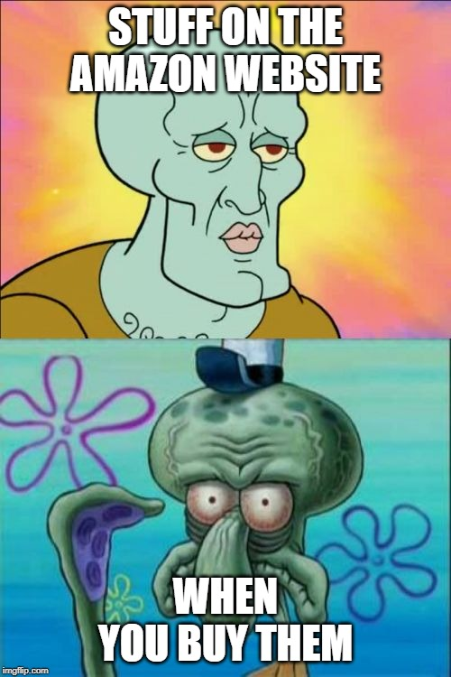 Squidward Meme | STUFF ON THE AMAZON WEBSITE WHEN YOU BUY THEM | image tagged in memes,squidward | made w/ Imgflip meme maker