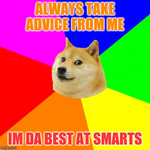 Advice Doge | ALWAYS TAKE ADVICE FROM ME IM DA BEST AT SMARTS | image tagged in memes,advice doge | made w/ Imgflip meme maker