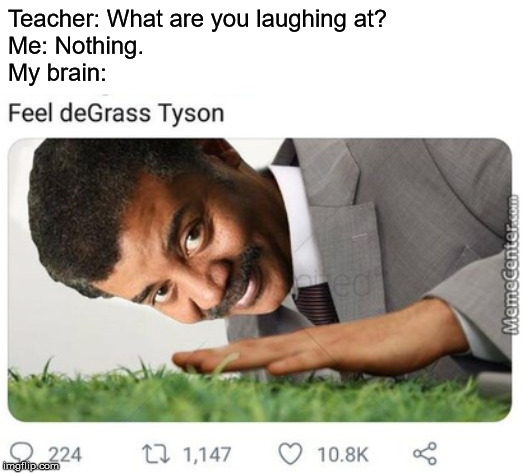 We're hitting levels of grass that shouldn't even be possible |  Teacher: What are you laughing at? Me: Nothing. My brain: | image tagged in memes,neil degrasse tyson | made w/ Imgflip meme maker