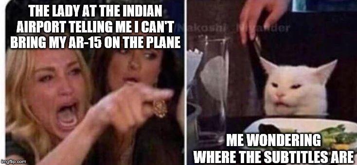Cat at table |  THE LADY AT THE INDIAN AIRPORT TELLING ME I CAN'T BRING MY AR-15 ON THE PLANE; ME WONDERING WHERE THE SUBTITLES ARE | image tagged in cat at table | made w/ Imgflip meme maker